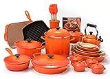 10 quart dutch oven cast iron - Le Creuset Flame 29 Piece Cookware Set with Bonus 2 Quart Round Dutch Oven