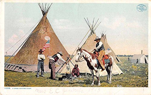 Postcard Teepee (Cowboys at Camp Native American Teepees Detroit Publishing Postcard J75110)