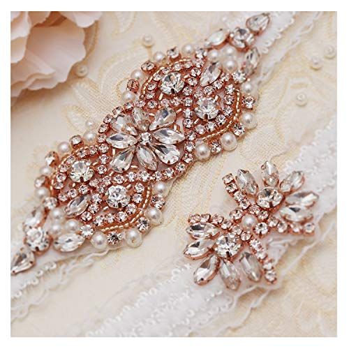 yanstar Wedding Bridal Garter White Stretch Lace Bridal Garter Sets with Rose Gold Rhinestone Pearl for Wedding and Prom ()