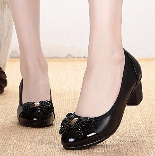 KHSKX-Black 4.5Ccm Mother Shoes Single Shoes Women Older Middle-Aged Women In The Spring Shoes Ladies Shoes Shallow Mouth To Spring 35