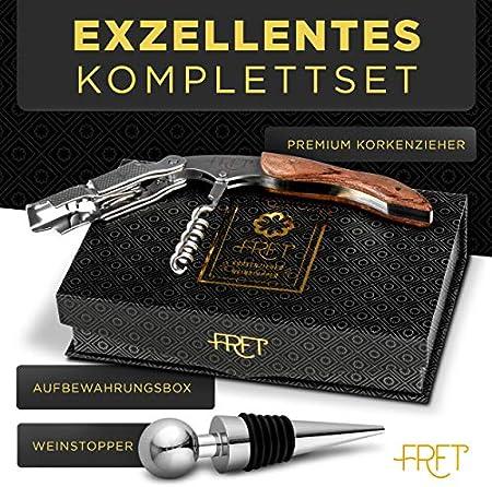 FRFT Sacacorchos prémium para vino – Abrebotellas de acero inoxidable y madera de rosas – Juego de abrebotellas con tapón de vino y caja magnética