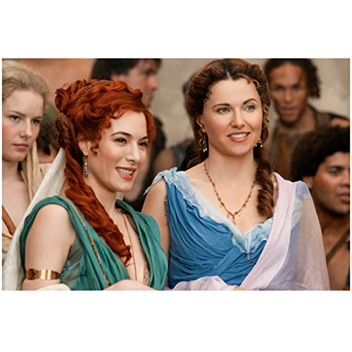 Jaime Murray as Gaia in Green Dress and Lucy Lawless as Lucretia in Spartacus: Gods of the Arena 8 x 10 inch photo (Best Gods For Arena)