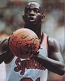 Signed Pearl Washington Photograph - 8x10 COLOR +COA SYRACUISE LEGEND TO BOB - Autographed NBA Photos