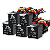 40 amp bosch relay - 5 Pack Automotive Relay Switch Harness Set 5-Pin 30/40A Bosch Style Relay Harness Spdt 12V SPDT Contactor 12 AWG Hot Wires with Interlocking Relay Socket and Harnesses for Car Truck Motor Heavy Duty