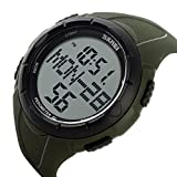 sea-junop Unisex Waterproof Outdoor Sports Watch LED Digital Walking Pedometer(ArmyGreen)