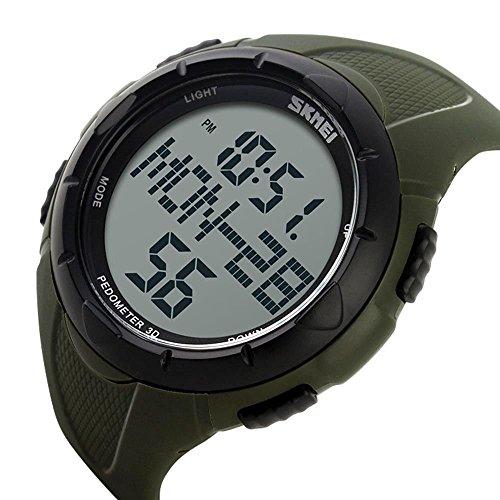 sea-junop Unisex Waterproof Outdoor Sports Watch LED Digital Walking Pedometer(ArmyGreen) by sea-junop
