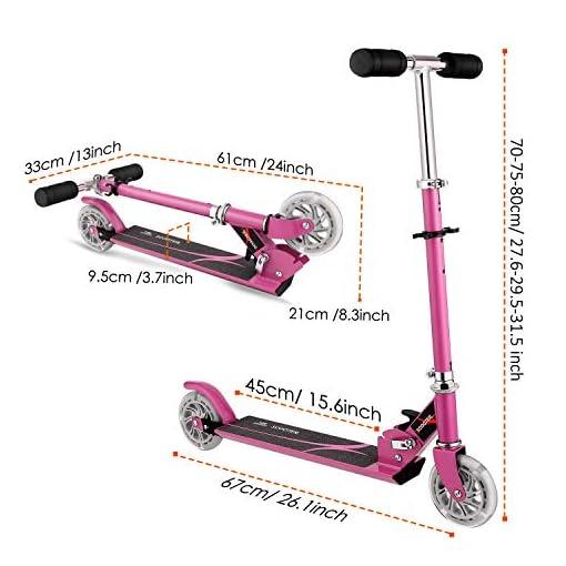 WeSkate Trottinette 2 Roues pour Enfant de 4 À 12 Ans Trottinette Pliable Ajustable sur 3 Niveaux pour Filles et Garçons,50kg de Chargement Maximal (Rose,Bleu)
