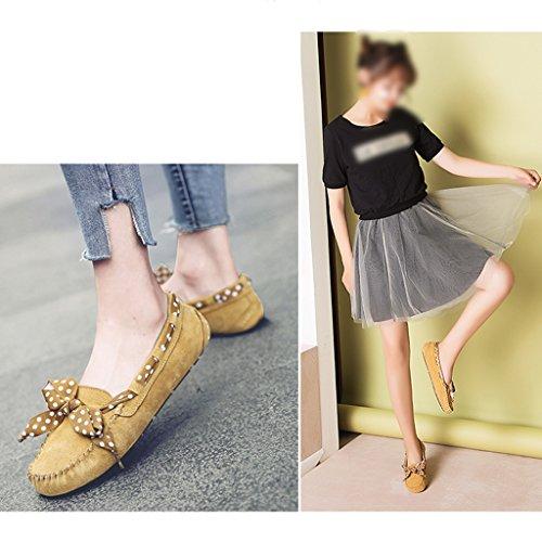 weiblicher 40 HWF beiläufigen Braun flacher größe flacher Farbe einer Schuh Schuhe Damenschuhe Frauen faule Pedal einzelne Erbsen Mund Frühlings Schuhe IxqwrIRH