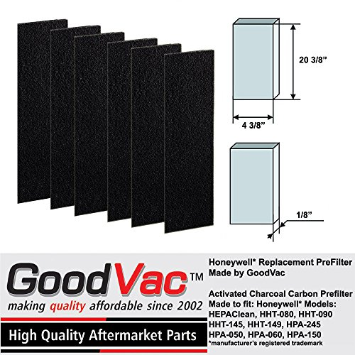 GOODVAC Replacement for Honeywell HEPAClean Tower Air Purifier Odor Absorbing Replacement Pre-Filter Filter B (6)