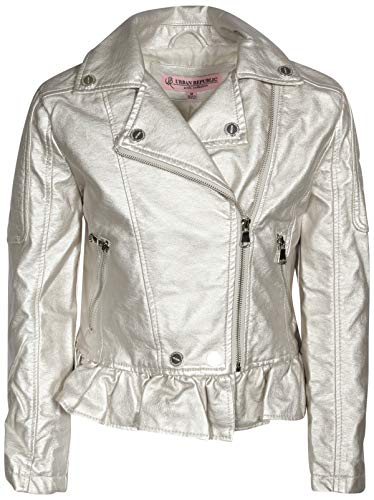 Urban Republic Toddler & Big Girls Faux Leather Motorcycle Moto Biker Jacket (10/12, Silver - Leather Motorcycle Metallic Jacket