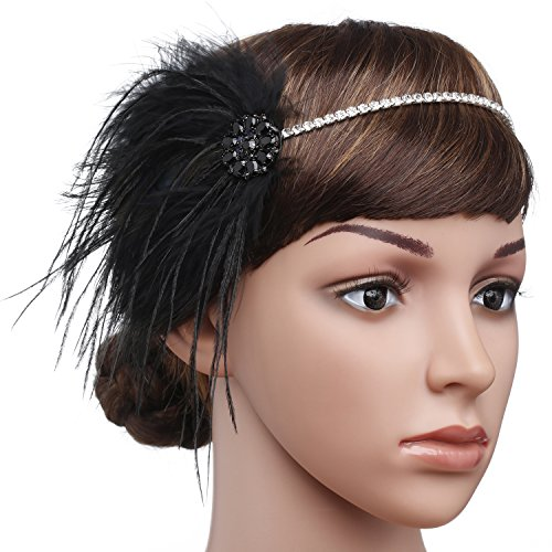 (BABEYOND Vintage 1920s Flapper Headband Roaring 20s Great Gatsby Headpiece with Feather 1920s Flapper Gatsby Hair Accessories)