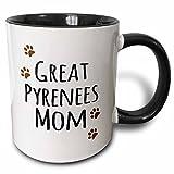 3dRose 3dRose Great Pyrenees Dog Mom - Doggie by breed - brown muddy paw prints - doggy lover pet owner mama love - Two Tone Black Mug, 11oz (mug_154129_4), , Black/White