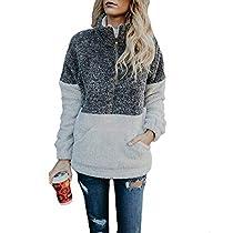 Women Long Sleeve Pullover Soft Fleece Zip Sweatshirt with Pockets Outwear Coat Gray