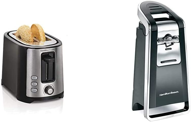 Hamilton Beach 2 Slice Extra Wide Slot Toaster with Shade Selector & (76606ZA) Smooth Touch Electric Automatic Can Opener with Easy Push Down Lever, Extra Tall, Black and Chrome