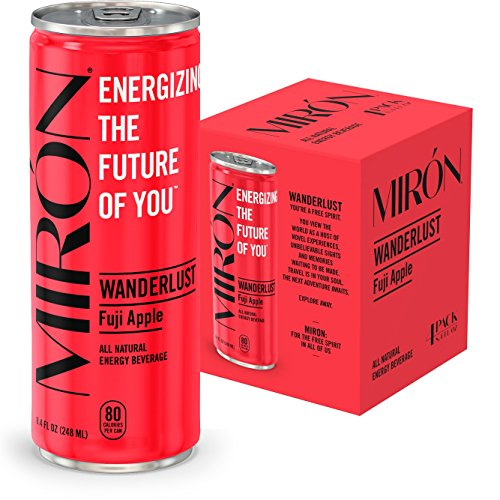 Mirón Fuji Apple All Natural Sparkling Energy Beverage 8.4 Fl.Oz. Cans (Pack of 4)