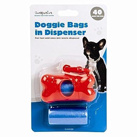 DOG BONE SHAPE PET CAT POOP WASTE PICK UP CARRY DISPENSER HOLDER WITH 40 BAGS