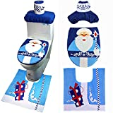 VALORCASA Santa Snowman Toilet Seat Cover Rug Set Bathroom Christmas Decorations,3 Piece