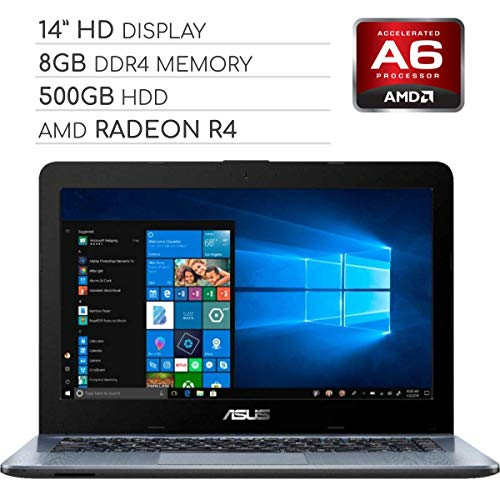 ASUS Vivobook 2019 Premium 14 HD Non-Touch Laptop Notebook Computer, 2-Core AMD A6 2.6GHz, 8GB DDR4 RAM, 500GB HDD, No DVD, Wi-Fi|Bluetooth|Webcam|HDMI|VGA, Windows 10