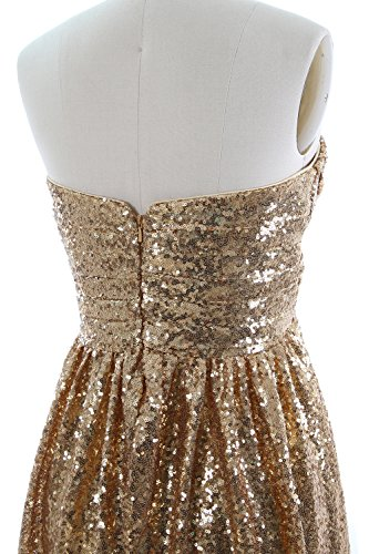 Party Sequin Strapless Women Dress Formal Gold Evening Bridesmaid MACloth Long Gown 0Fqw4nE