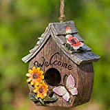 Butterfly and Flowers Welcome Decorative Hand-Painted Bird House