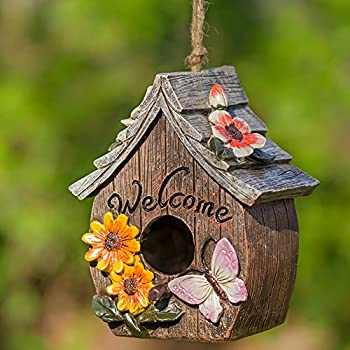 Butterfly And Flowers Welcome Decorative Hand Painted Bird House