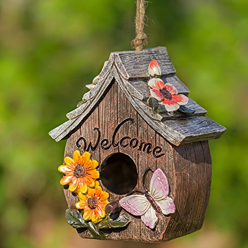 Ceramic Birdhouses - Butterfly and Flowers Welcome Decorative Hand-Painted Bird House