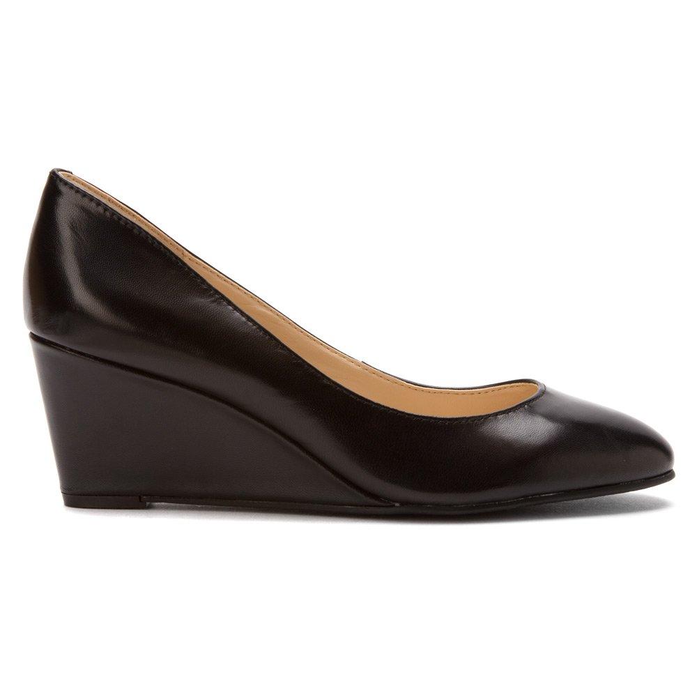 Nine West Women's iSpy Wedge,Black Leather,US 6 5 W: Amazon