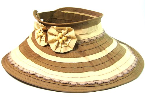 womens-sun-hat-visor-with-flowers-and-beads-fashion-brown-beige