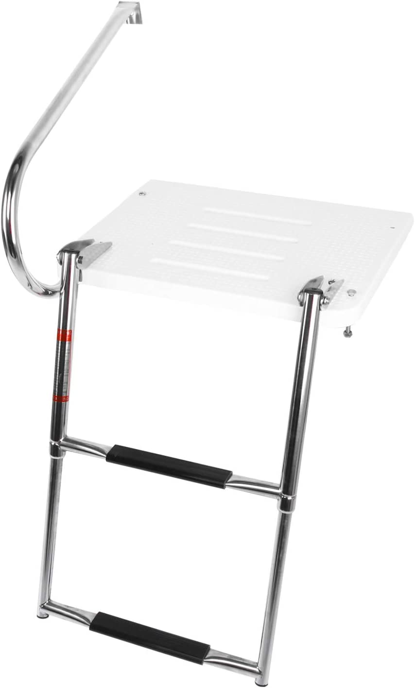 DasMarine Universal Outboard Fiberglass Swim Platform Under Mount Fold Down 2 Step 316 Stainless Steel Ladder with One Handrails(Mounting Screws are Included)