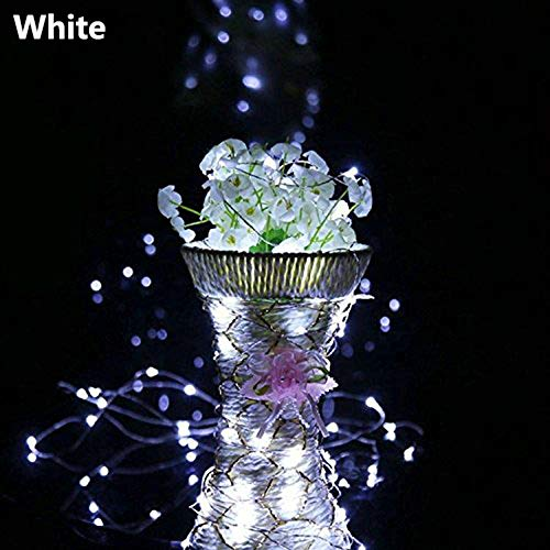 Baulody 10 LED Fairy String Lights Battery Operate Firely Silver Coated Copper Wire Mini for Christmas Tree Hollywood Home Garden Patio Party Wedding Decorations Warm (White-Clear ()