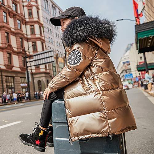 FDSAD Warme Jacke Im Freien Neue Kinder Outdoor Warme Jacke Mädchen Jungen Lange Dicke Winterjacke Geeignet Für Höhe 150Cm Gold
