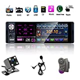 Single Din Car Stereo Radio, 12V 4.1' Car MP5 Player with Bluetooth Audio & Hands-Free Calling, FM Receiver USB/AUX-in/SD Card Port + Steering Remote Control & Backup Camera