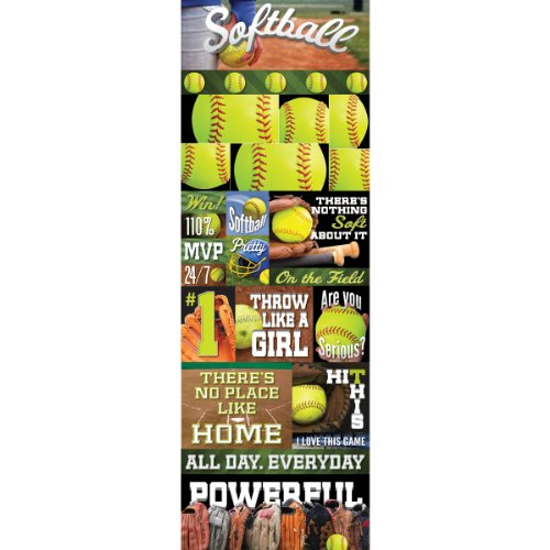 Colonial Needle RS-CSTK-176 Real Sport Die-Cut Cardstock Stickers, 4.25 by 13-Inch, Softball Graphic