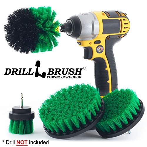 Cleaning Supplies - Kitchen Accessories - Drill Brush - Stove - Oven - Sink - Backsplash - Flooring - Cast Iron Skillet - Spin Brush - Dish Brush - 4 Drill Powered Kitchen Brush - Tile - Grout Cleaner (Rim Destroyer Wheel)