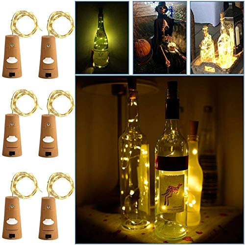 Cork Lights for Wine Bottles 6 Pack, 40inch/ 1m 10 LED Copper Wire Lights String Starry LED Lights for Bottle DIY, Party, Decor, Christmas, Halloween, Wedding or Mood Lights - Warm White