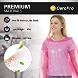 Rain Ponchos for Adults Disposable - 10 Pack Bulk