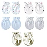 5-Packs Pretty Newborn/ Infant NO-Scratching Cotton Mittens For 0-3M One Size