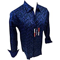 Men's House of Lords Designer Woven Long Sleeve Button Down Dress Shirt Royal Blue Paisley 2012