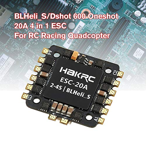 Wikiwand 20A 4 in 1 BLHeli_S/Dshot 600 Oneshot ESC for RC Racing Drone Quadcopter Model