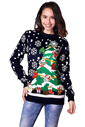 Women's Ugly Christmas Sweater Funny Sparkly Ornament Xmas Pullvoer - Bling it All The Way, XX-Large