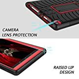 Elegant Choise All-New Amazon Fire 8 2017 Case with Kickstand Heavy Duty Shockproof Full Body Defender Armor Rugged Protective Cover Case for Amazon Kindle Fire 8 2017 Release (Red/Black)
