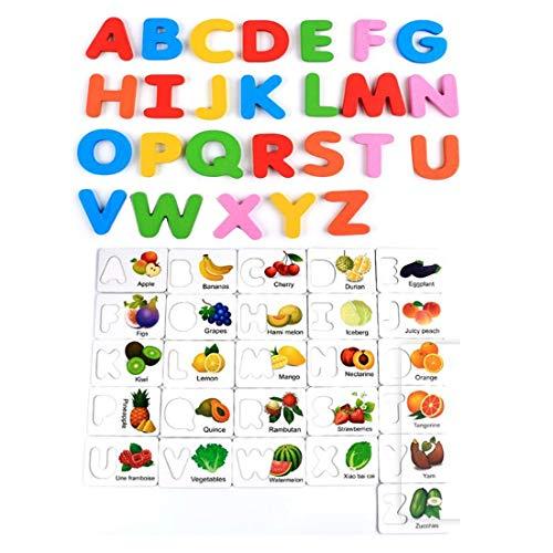 Amazon.com: Tarjetas de alfabeto verduras, puzzles de madera ...