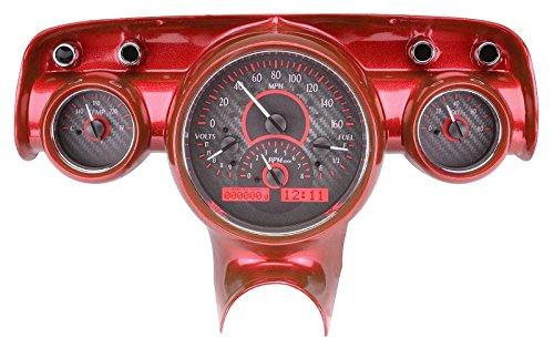 Center Dash Clock - Dakota Digital 57 Chevy Car Analog Dash Gauges System Carbon Fiber Red VHX-57C-C-R