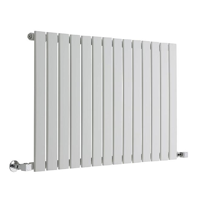 Hudson Reed - Moderno Radiador Diseño Horizontal Ultra Plano en Acero (Blanco) - 937 Vatios - 635 x 980 mm - 14 Elementos Verticales - Calefacción Agua ...