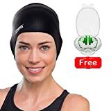 Silicone Swimming Cap for Women and Men - Long Hair, Thick or Short - For Average or Large Heads - With Ergonomic Ear Pockets to Cover Ears - Anti-Tear - Stronger Than Latex Swim Hats - Great for Adults, Older Kids, Boys and Girls - 100% Satisfaction Money Back Guarantee