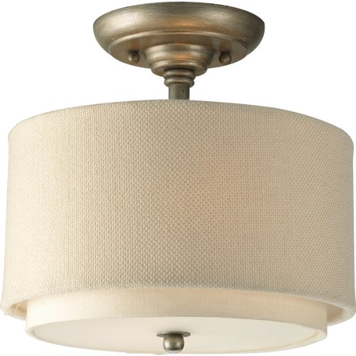 Progress Lighting P3886-134 2-Light Semi-Flush with Double Drum Shades and Toasted Linen Fabric Chain and Ceiling Mounts Both Included, Silver (Tiffany Inspired Twist)