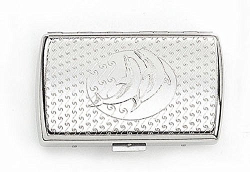 Cigarette Case Metal Two Dolphins Silver Holder Smoke Slim Thin Size Tobacco (Silver Dolphin Two)