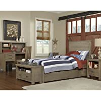 NE Kids Highlands Alex Twin Panel Bed with Trundle in Driftwood