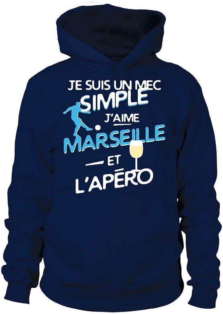 TEEZILY Sweat /à Capuche Je suis Un mec Simple Jaime Marseille et lap/éro Unisex