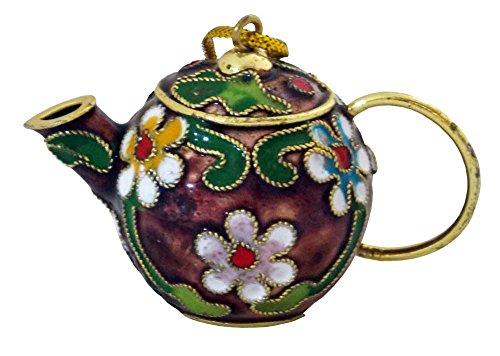 Aubergine Cloisonne Teapot Ornament